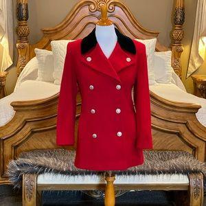 Vintage Anne Klein Red Wool Coat Size 8